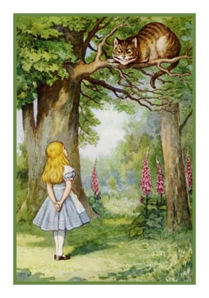 Alice e o gato em desenho de John Tenniel